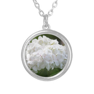 white hydrangea silver plated necklace