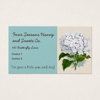 White Hydrangea Vintage Botanicals Illustrations Business Card