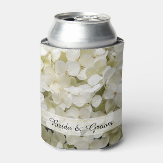 White Hydrangea Wedding Favor Can Cooler
