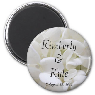 White Hydrangea Wedding Favor Magnet