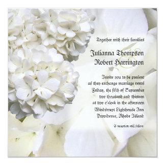 White Hydrangea Wedding Invitation, Square Card