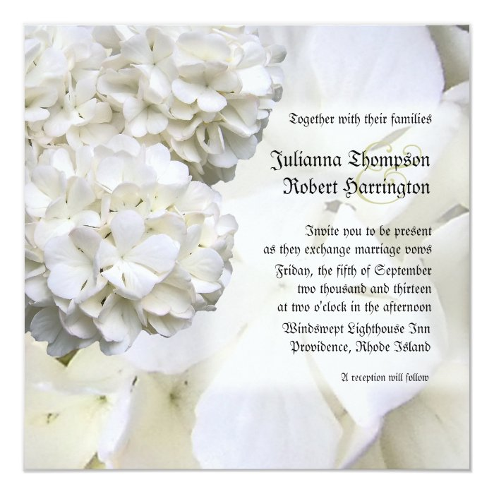 White Hydrangea Wedding Invitation, Square Card
