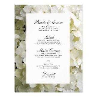 White Hydrangea Wedding Menu Flyer Design