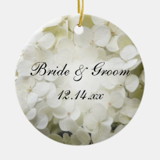 White Hydrangea Wedding Photo Ornament