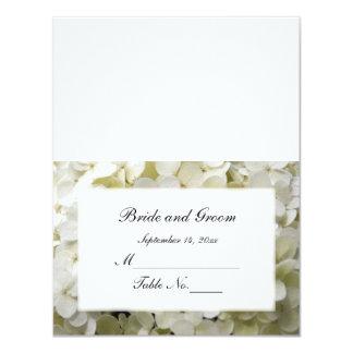 White Hydrangea Wedding Reception Place Card