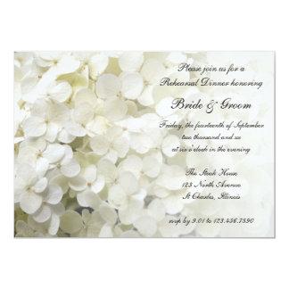 White Hydrangea Wedding Rehearsal Dinner 5x7 Paper Invitation Card