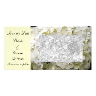 White Hydrangea Wedding Save the Date Photo Card
