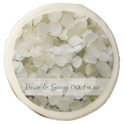 White Hydrangea Wedding Sugar Cookie