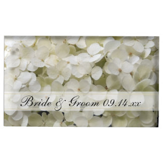 White Hydrangea Wedding Table Card Holder