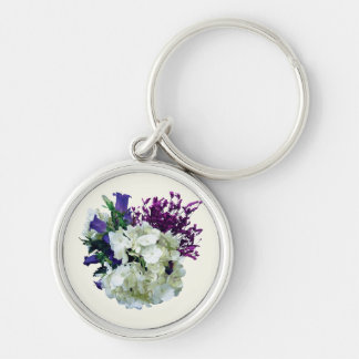 White Hydrangea With Canterbury Bells and Sage Keychains