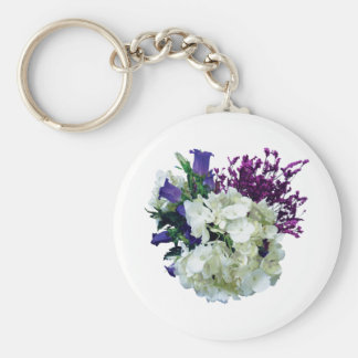 White Hydrangea With Canterbury Bells and Sage Keychain