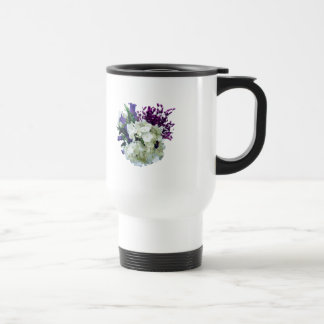 White Hydrangea With Canterbury Bells and Sage 15 Oz Stainless Steel Travel Mug