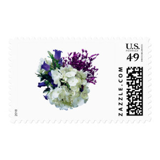 White Hydrangea With Canterbury Bells and Sage Postage Stamp