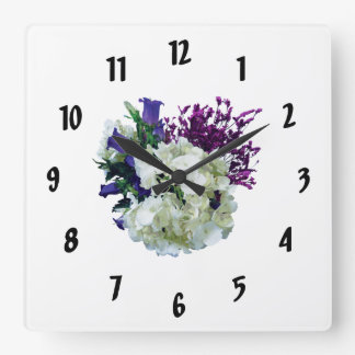 White Hydrangea With Canterbury Bells and Sage Square Wall Clock