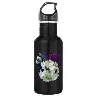 White Hydrangea With Canterbury Bells and Sage Stainless Steel Water Bottle