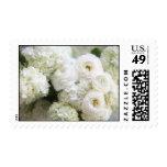 white hydrangeas and ranunculus stamp