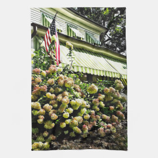 White Hydrangeas By Green Striped Awning Towel