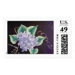 White hydrangeas postage stamp