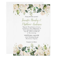 White Hydrangeas Roses Greenery Wedding Invitation