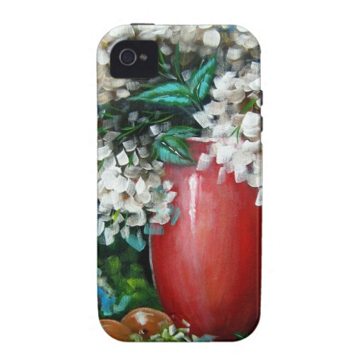 White Hydrangeas with Red Vase Design iPhone 4 Cover