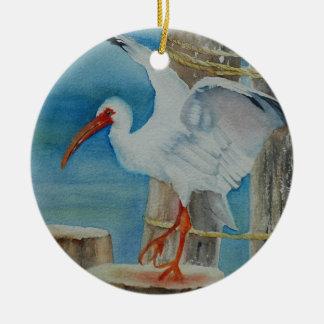 White Ibis by Peggy Allen Ceramic Ornament