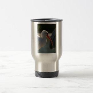 White ibis head picture , orange beak bird travel mug