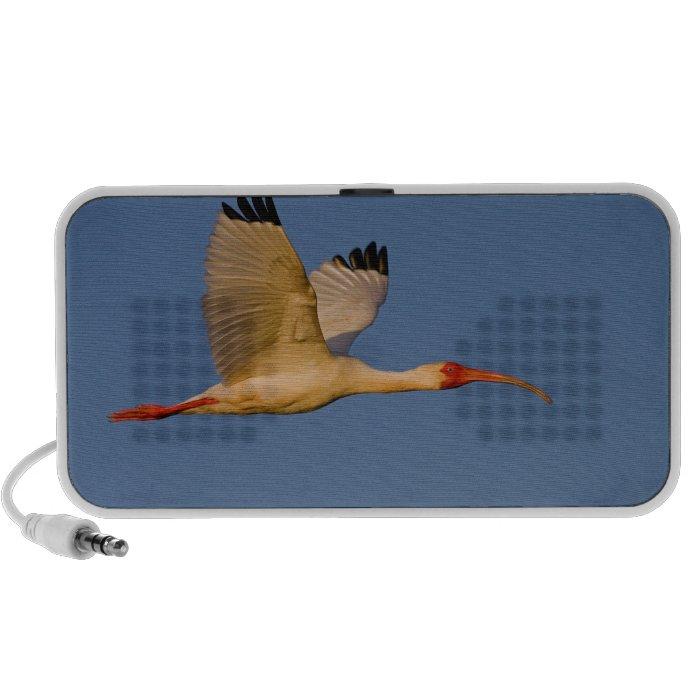 white ibis in flight mini speaker