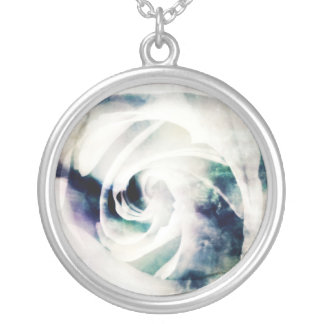 White Ice Round Pendant Necklace