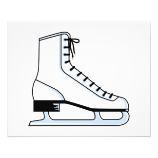 "white ice skate vector graphic 4.5"" x 5.6"" flyer"
