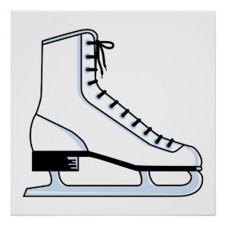 white ice skate vector graphic poster