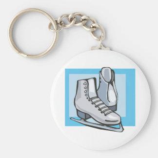 white ice skates graphic keychain