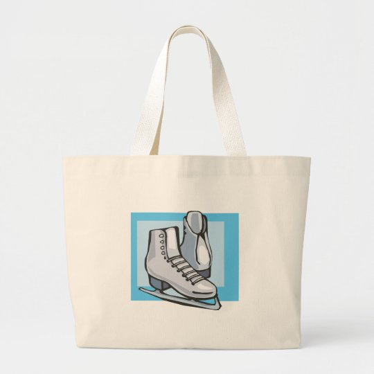 white ice skates graphic large tote bag