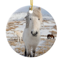 White Icelandic Horse, Iceland Ceramic Ornament