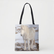 White Icelandic Horse Portrait Tote Bag