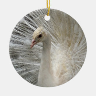 White Imperial Peacock Ceramic Ornament