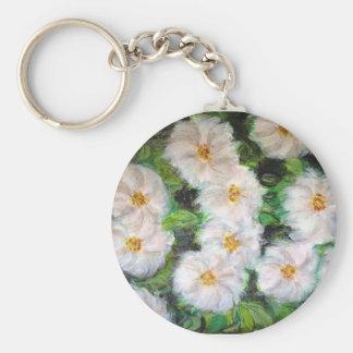 White Impressionist Flowers Keychain