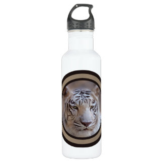 White Indian Bengal Tiger Stainless Steel Water Bottle