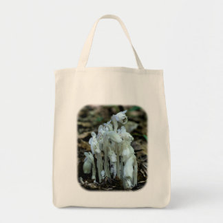 White Indian Pipes Floral Nature Tote Bag