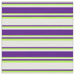 [ Thumbnail: White, Indigo & Light Green Colored Lines Pattern Fabric ]