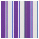 [ Thumbnail: White, Indigo & Royal Blue Colored Lines Fabric ]