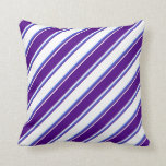 [ Thumbnail: White, Indigo & Royal Blue Colored Lines Pillow ]