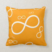White Infinity on orange background | Cool Pillow
