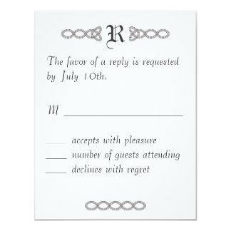 White Infinity Wedding RSVP Card