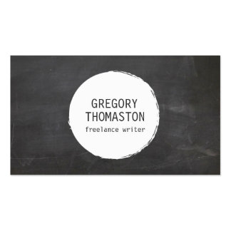White Ink Blot Circle Logo on Black Chalkboard Double-Sided Standard Business Cards (Pack Of 100)