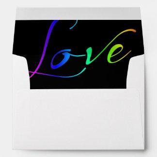White Invitation Envelope Rainbow Love Liner