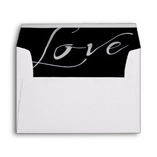 White Invitation Envelope with a Gray Love Liner