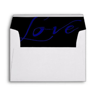 White Invitation Envelope with Blue Love Liner