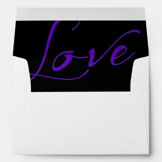 White Invitation Envelope with Purple Love Liner