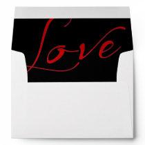 White Invitation Envelope with Red Love Liner