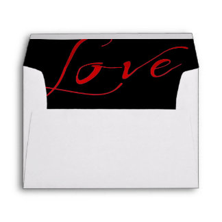 White Invitation Envelope with Red Love Liner
